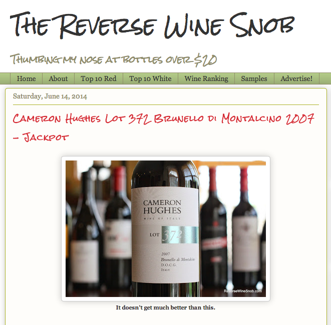 The Reverse Wine Snob 10 out of 10 Star Rating on Lot 372